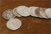 Lot of 10 Franklin Silver Half Dollars
