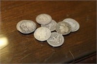 Lot of 10 Silver Barber Quarters