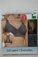 BLACK BOW LACE BRALETTE LIGHT SUPPORT XL 2PACK