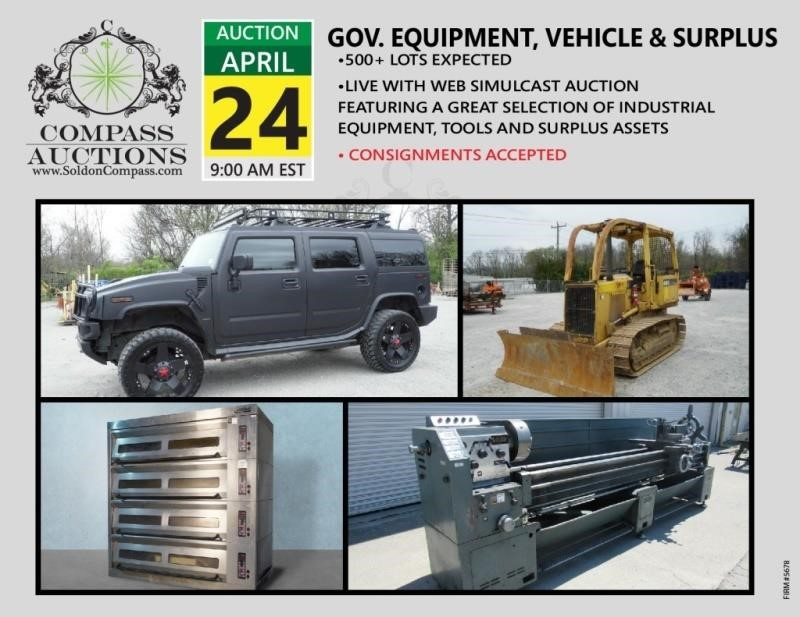 422 Lots | Government Equipment, Vehicle and Surplus Auction