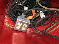 Wooden box on Wheels & Extension Cords