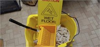 Mop Bucket & Wet Floor Sign