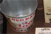 Red Man Metal Bucket