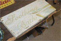"""Soothing Bath Canvas Sign, 8X20"""""""