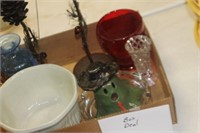 Box of Glassware, Candle Holders, etc.