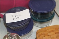 Four Pyrex Bowls with Lids