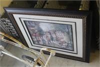 "Framed City Street Print, 33X28"""