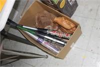 Box of Baseball Bats & Gloves