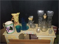 BOX OF GLASSWARE AND POTTERY PITCHER, VASES
