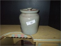 COVERED CROCK MADE BY BEAUMONT POTTERY,