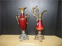 """MATCHING EWER AND VASE, CAST METAL, 13"""" TALL,"""