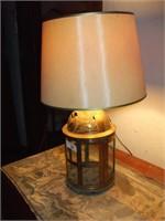 BRASS TABLE LAMP W/ SHADE, LIGHT WEIGHT, W/ GLASS