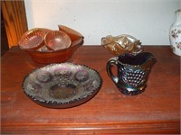 GROUPING OF CARNIVAL GLASSWARE ORANGE AND PURPLE