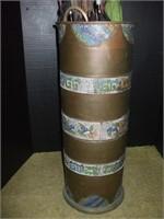 BRASS UMBRELLA STAND W/ 10 CANES OR UMBRELLAS,