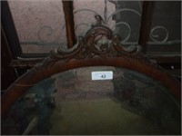 OVAL MIRROR, SOME DAMAGE ON FRAME, W/ HALL TREE,