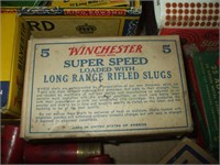 BOX OR WINCHESTER AMMUNITION W/ BOX .22, .12 & .20