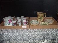 2 BOXES OF CHINA DISHES, PITCHERS, WATER SET