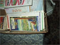 2 BOXES OF VINTAGE ROAD MAP, OIL COMPANY