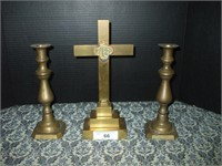 """BRASS CROSS 12"""" BY 6"""" AND 2 BRASS CANDLE STICKS"""