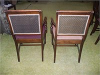 TWO MAHOGANY CHAIRS WITH NEEDLEPOINT SEATS