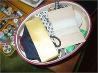 9 CONTAINERS OF SEWING ITEMS AND BUTTONS