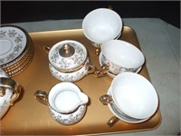 SET OF BAVARIA CHINA ITEMS AND NEWER AMBER GLASS