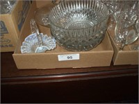 3 BOXES OF CLEAR GLASSWARE, STEMWARE, SERVING