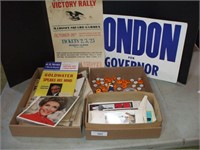 3 BOXES OF POLITICAL CAMPAIGN ITEMS: