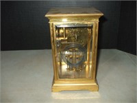WATERBURY OPEN ESCAPEMENT CLOCK W/ GLASS CASE