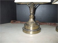 PAIR OF CAST METAL MANTEL LAMPS, 15'' TALL,