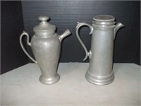 "2 PEWTER TEA POTS: FLAGG & HOMAN, 11 1/2"" TALL"