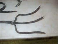 4 WROUGHT IRON FIREPLACE TOOLS