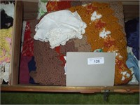 CONTENTS OF LINENS IN HOPE CHEST, LACE, BLANKETS