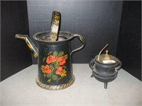 CAST IRON FIRE STARTER, AND TOLE PAINTED PITCHER