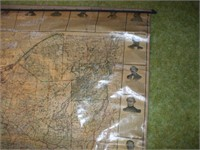 1885 MAP OF NEW YORK STATE W/ GOVERNORS, SENATORS,