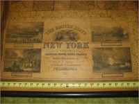 1844 MAP OF NYS, 44'' X 50'', SOME DAMAGE