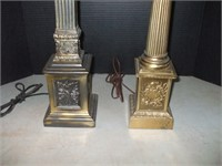 2 CAST WHITE METAL LAMPS/ NON MATCHING