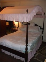 MAHOGANY DOUBLE SIZE CANOPY BED, GOOD CONDITION