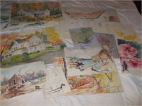LARGE COLLECTION OF WATER COLORS BY ELINOR EMMICK