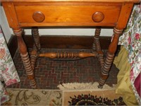 PINE SINGLE DRAWER STAND W/ TWO PULLS: