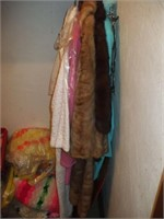 CLOSET FULL OF ITEMS, CLOTHES, LINENS, AFGHANS,