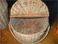 """TWO WOVEN BASKETS: LARGER MEASURES 19'' X 12 1/2"""","""