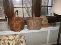 11 WOVEN BASKETS, VARIOUS STYLES, GOOD CONDITION