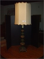 """LARGE CAST WHITE METAL LAMP: 45"""" TOTAL HEIGHT"""