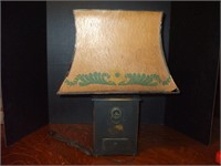UNIQUE TINWARE LAMP W/ CARDBOARD SHADE,