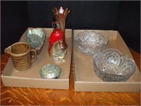 2 BOXES OF GLASSWARE, CARNIVAL, CUT AND PRESSED