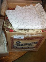 8 BOXES OF LINENS, TABLECLOTHS, NAPKINS, DOILIES,