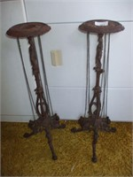 2 CAST IRON PLANT STANDS (NEWER),
