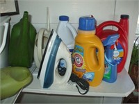 ARTWORK, LAUNDRY SUPPLIES, RADIO, IRON, CLEANING