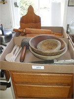 2 BOXES OF ROLLING PINS, WOODEN BOWLS, KNIVES